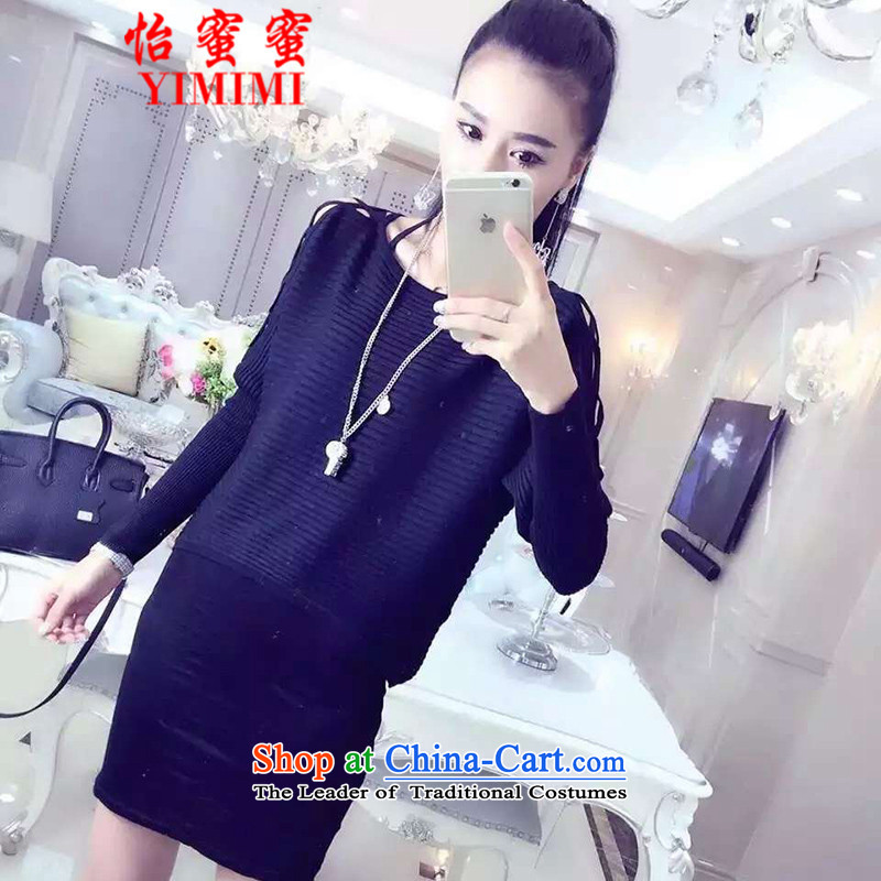 Selina Chow Honey Honey� 2015 European site with new bats autumn knitting shoulder engraving crossover design dresses 2173 Black are code