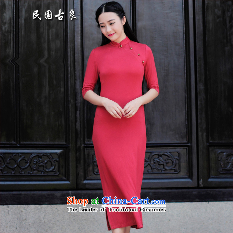 The Republic of Korea guryan autumn 2015 new dresses long skirt retro arts lady who decorated elegantly thin improved qipao graphics skirt red L pre-sale�S