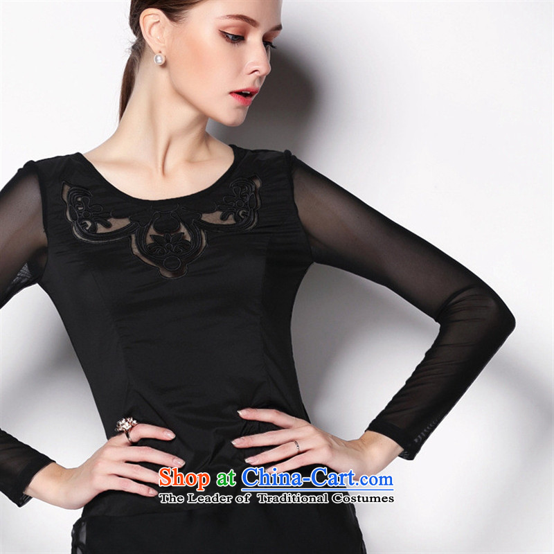 The main site of the 2014 Autumn European Women's clothes embroidery stitching Mesh long-sleeved shirt, forming the blue shirt燣