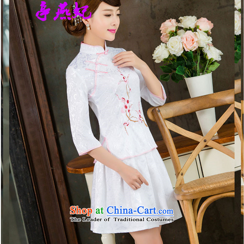 Kiosks Yin Fei� 2015 Spring/Summer new daily cheongsam dress retro style two kit B cuffs 1125# White�XXL cuff.
