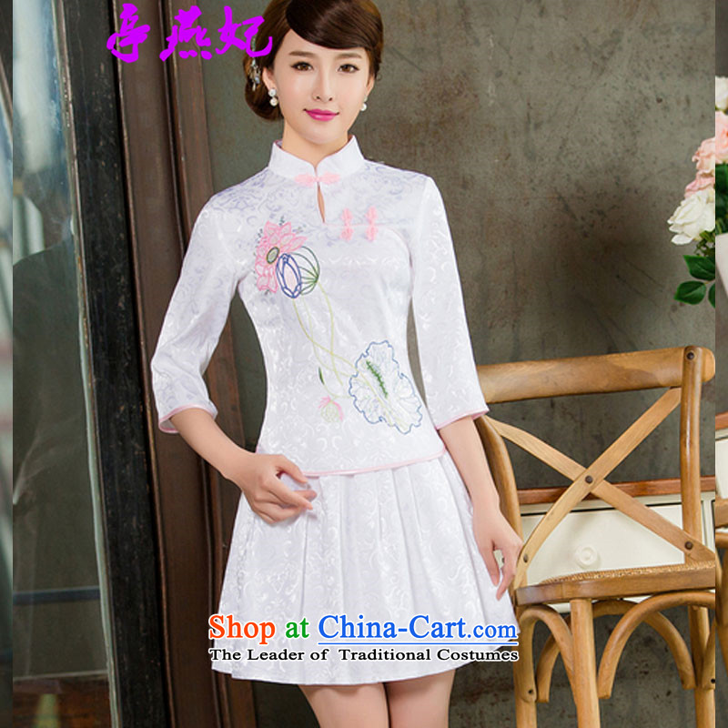 Kiosks Yin Fei? 2015 Spring/Summer female new daily long-sleeved Stylish retro qipao two kit B in 1121 in white sleeves cuff?S