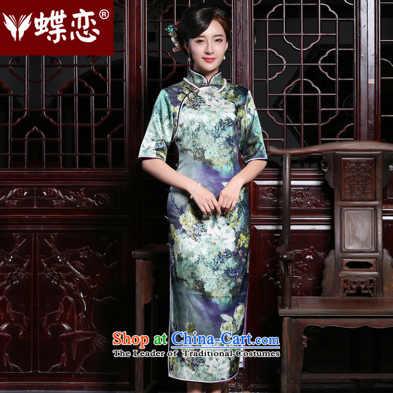 Butterfly Lovers in the autumn of 2015, new cuff retro daily silk cheongsam dress improved stylish long qipao figure XXL