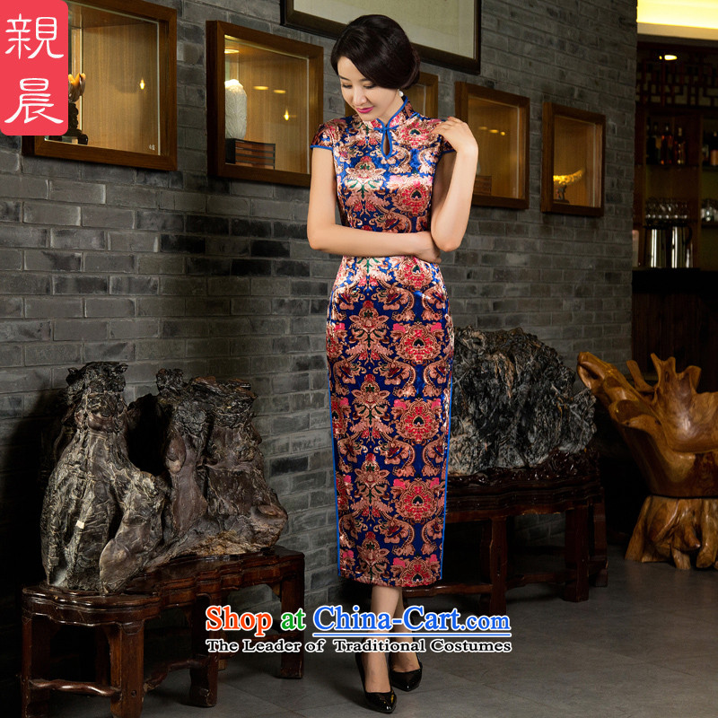 Kim scouring pads mother��Qipao Length, replacing older wedding dress wedding dresses large new autumn 2015 Long - Blue Golden Flower?XL