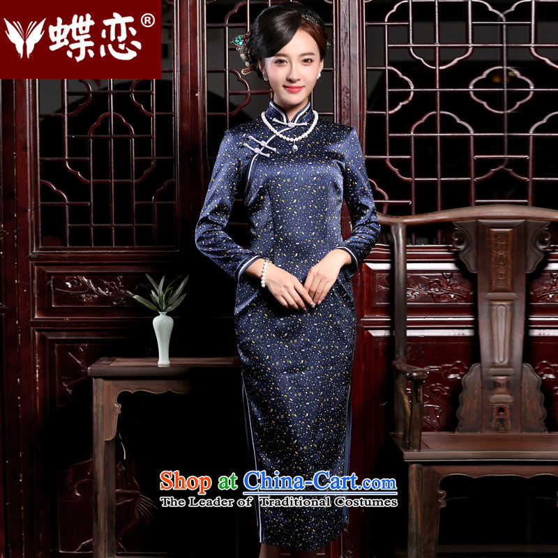 Butterfly Lovers 2015 Autumn new long-sleeved long_, improved cheongsam dress Stylish retro Silk Cheongsam figure聽L