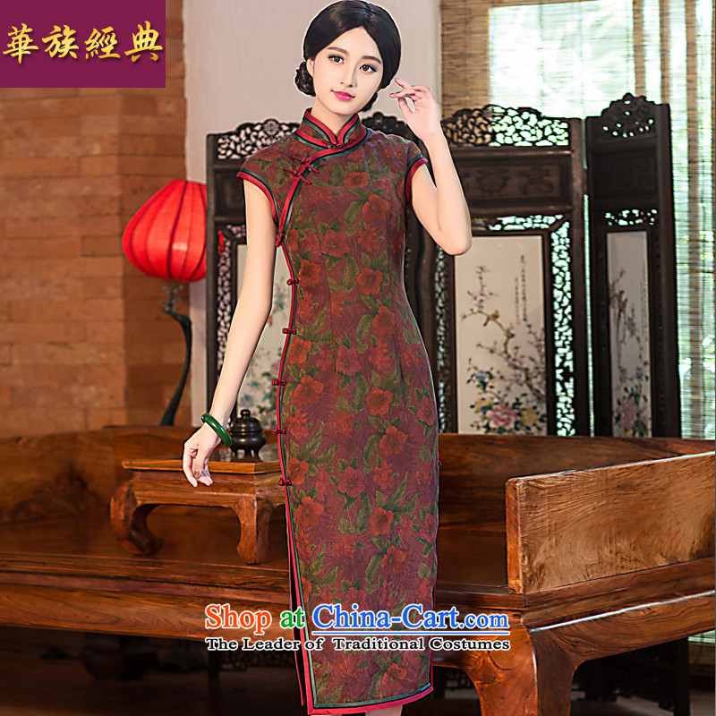 Chinese New Year 2015 classic ethnic improved stylish Ms. daily long silk yarn qipao cloud of incense Sau San dresses 120CM- long pre-sale 15 days?XL