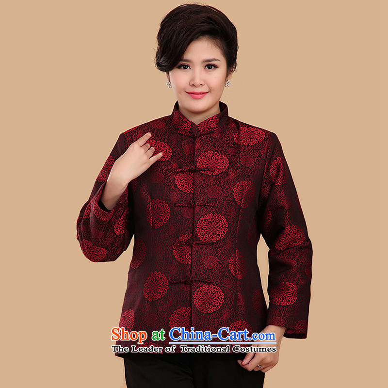 The Cave of the elderly 15 autumn and winter new moms replacing Ms. macrame folder cotton jacket Tang Chinese female N2070 Ms. macrame folder)/red XXL cotton