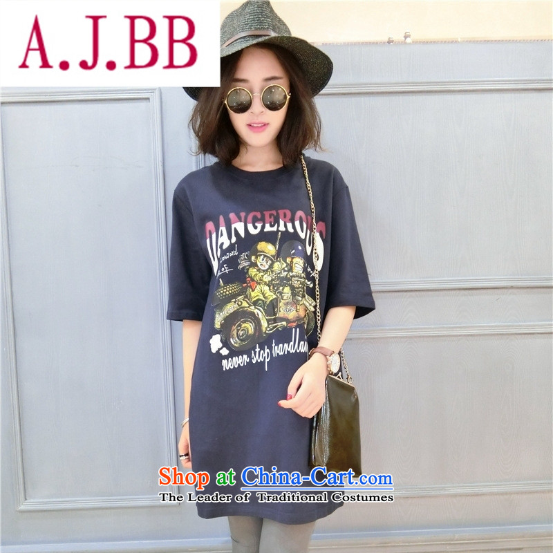 Ya-ting stylish shops 2015 Autumn replacing the new Korean version of T-shirts, cuff round-neck collar loose long cartoon figure forming the Pure cotton T-shirts are black code