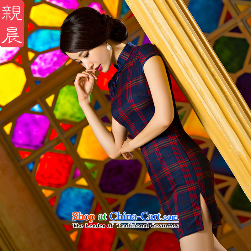 The pro-am daily latticed cheongsam dress short, 2015 new improved retro Sau San video thin large Ms. Qiu short) - Red and black tartan?L