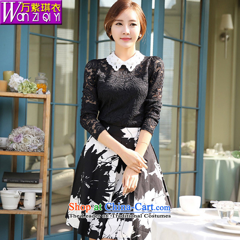 2015 Autumn Hamilton new stylish career women dressed dolls, forming the basis for a long-sleeved engraving the Netherlands shirt female lace white women shirt?XL