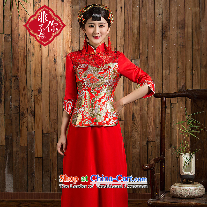 Non-you do not marry�15 new wedding dress Chinese Antique style qipao dragon serving upscale Yun Jin bows in cuff long skirt chiffon wedding dress red燣