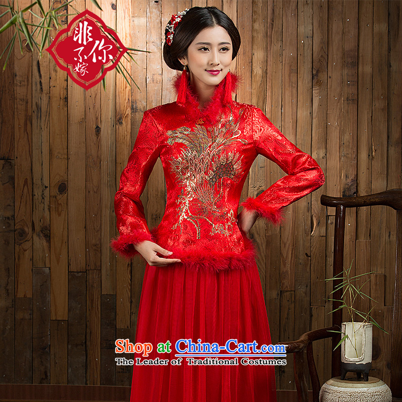 Non-you do not marry�15 new bride serving Chinese qipao bows improved Spangle Embroidery upscale damask back to door serving a seven-sleeved gown long-sleeved thick elegant Phoenix�L_