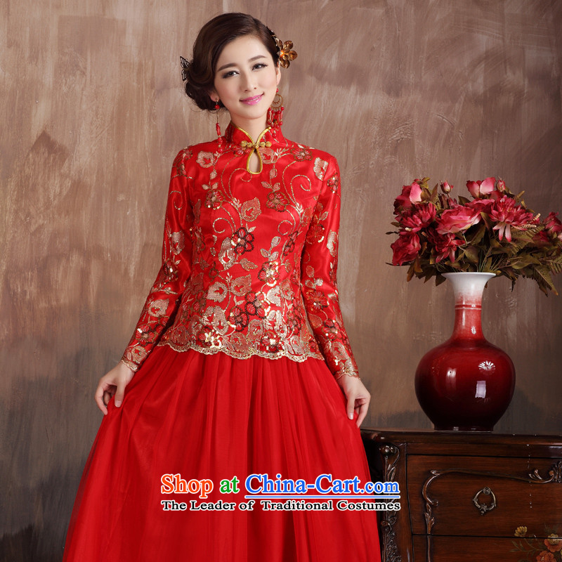 Non-you do not marry�15 new marriage Chinese cheongsam dress bows services Spangle Embroidery wedding dress retro long-sleeved dress code back door red large red燣