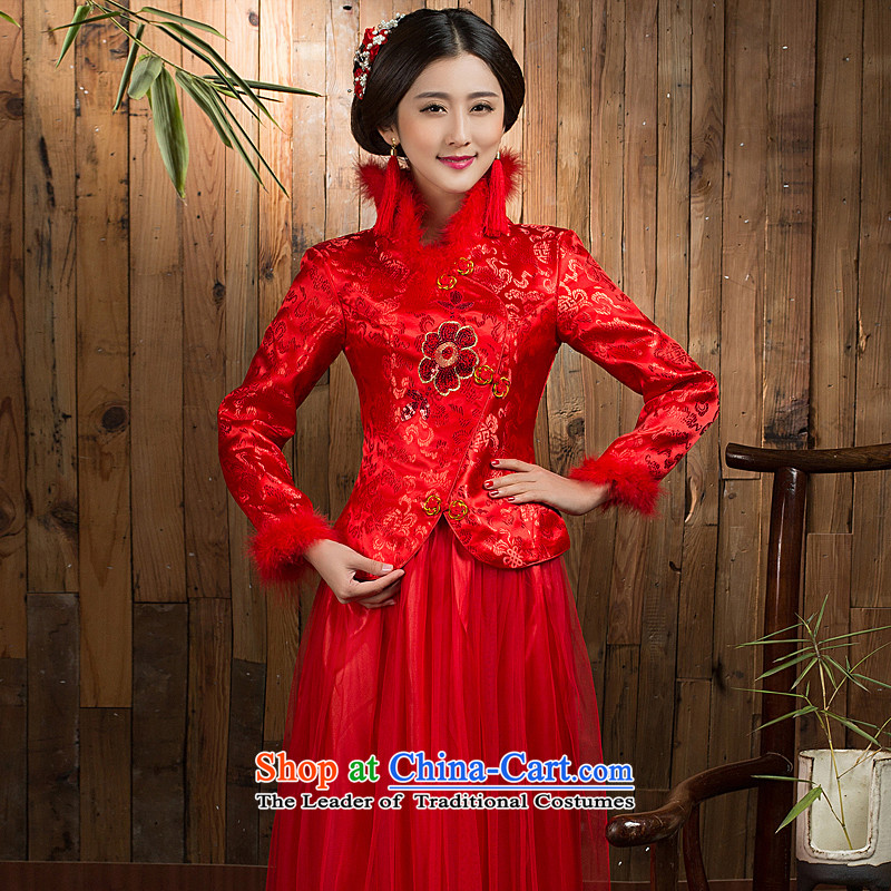 Non-you do not marry�15 autumn and winter new bows services trendy wedding dress code long cheongsam embroidery collar wedding gown 7 cuff damask bride serving a seven-sleeved thick winter燤