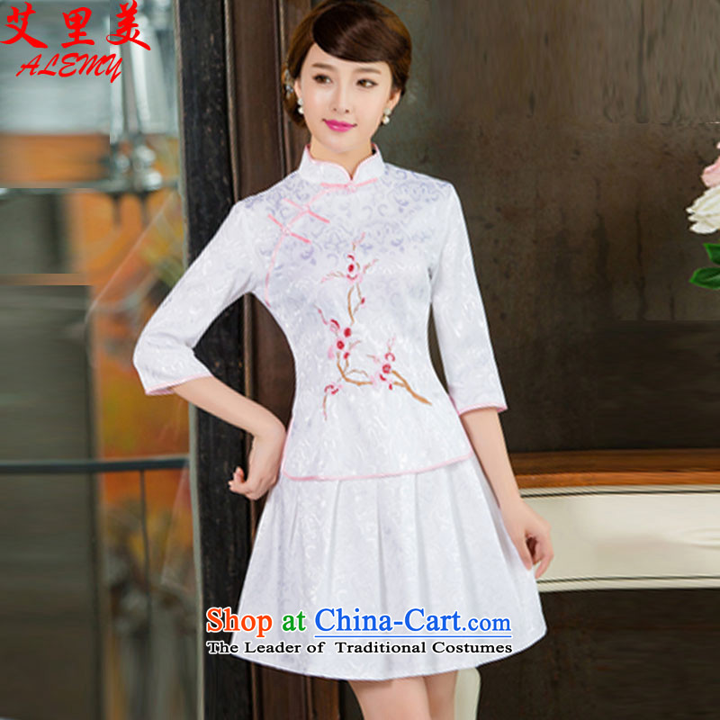 In the United States?2015 spring, summer, autumn and Tang dynasty new women's improved daily cheongsam dress retro look stylish two Kit?1125?White?XL