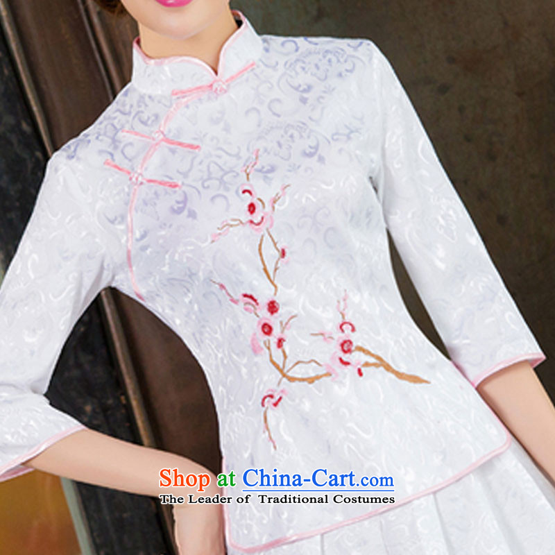 In the United States聽2015 spring, summer, autumn and Tang dynasty new women's improved daily cheongsam dress retro look stylish two Kit聽1125聽White聽XL, HIV (alemy us shopping on the Internet has been pressed.)