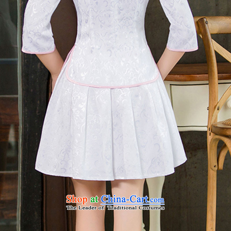 In the United States 2015 spring, summer, autumn and Tang dynasty new women's improved daily cheongsam dress retro look stylish two Kit 1125 White XL, HIV (alemy us shopping on the Internet has been pressed.)