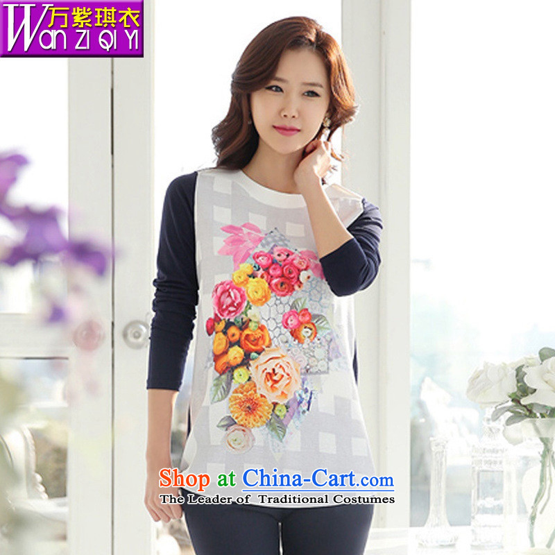 The main 2015 autumn and winter new Korean Style Boxed Baihua stamp relaxd mother larger women wear shirts female T-shirt picture color燣