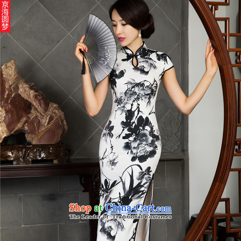2015 Summer New Stylish retro short-sleeved herbs extract Silk Cheongsam short of female cheongsam dress ink stamp?M