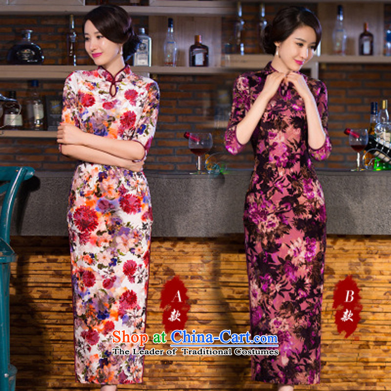 The spring and summer of 2015 new stylish improved cheongsam dress retro long wool qipao B燬 violet