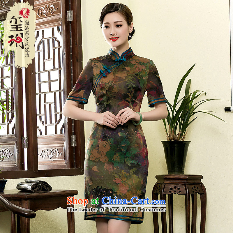 The seal of the Summer 2015 new retro-cloud Silk Cheongsam improved manually by Ms. cheongsam dress photo color?XXXL