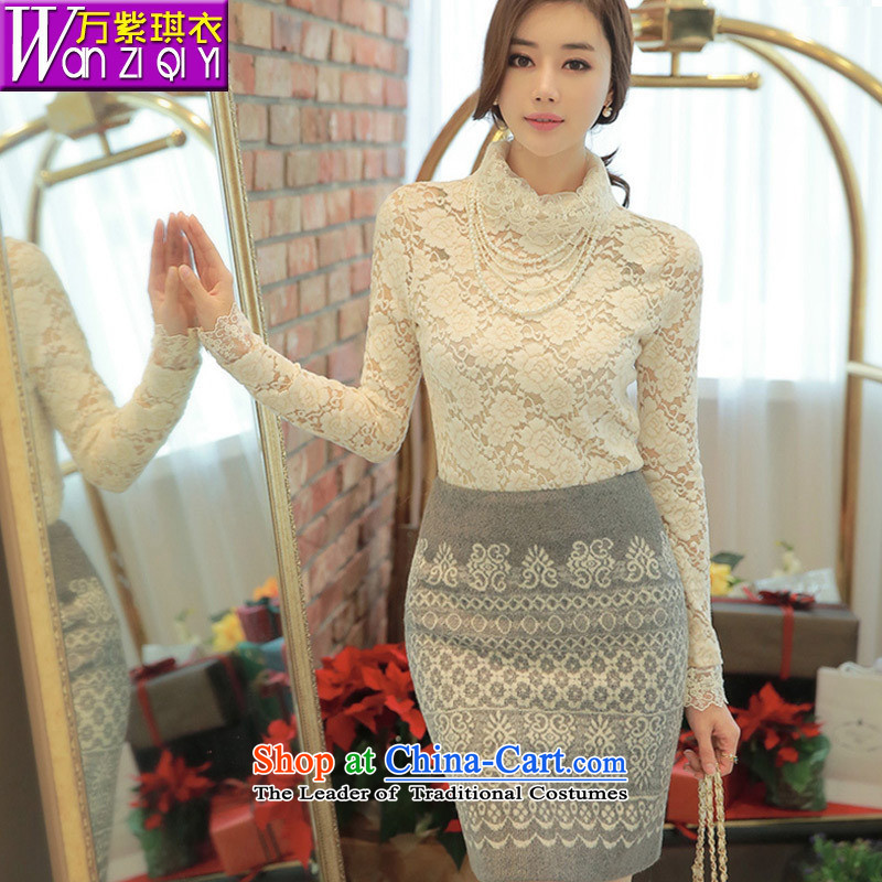 The main 2015 Autumn new aristocratic wind elegance women spend the engraving high collar forming the top female lace white shirt燤
