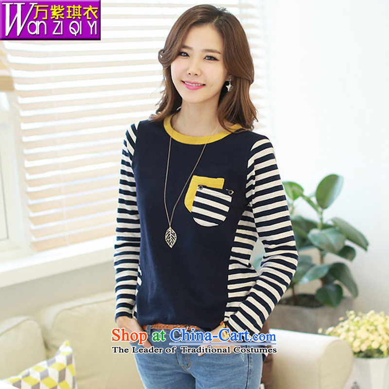 The main new Korea, Choo leisure streaks knocked color stitching pure cotton long-sleeved blouses and large-T-shirt dark blue?XXL