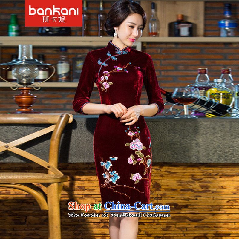 The Taliban Carne� 2015 autumn and winter new moms with scouring pads in the skirt qipao Kim sleeve length_ Improved retro wedding� CX43牋XXXL wine red