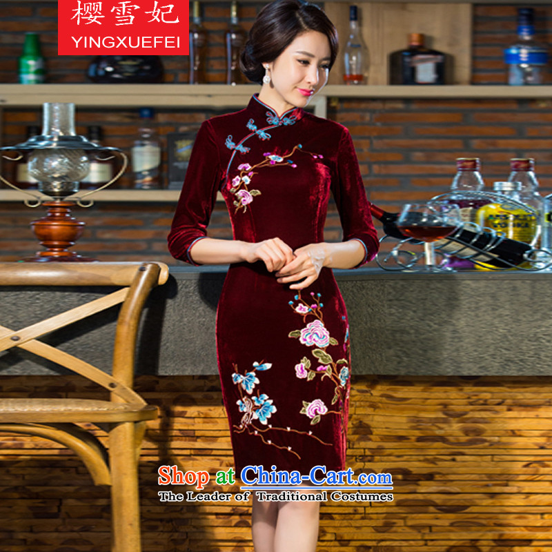 Enear Princess聽 2015 autumn and winter new moms with Kim scouring pads in the wedding of nostalgia for improved long-sleeved cheongsam dress聽T8883聽wine red聽XL