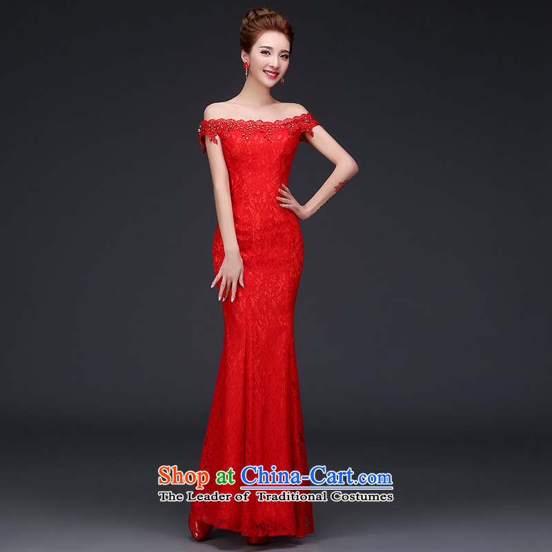 Time Service Bridal Autumn Syria bows stylish cheongsam dress 2015 new improved crowsfoot wedding dress long red short-sleeved cheongsam dress autumn red?L