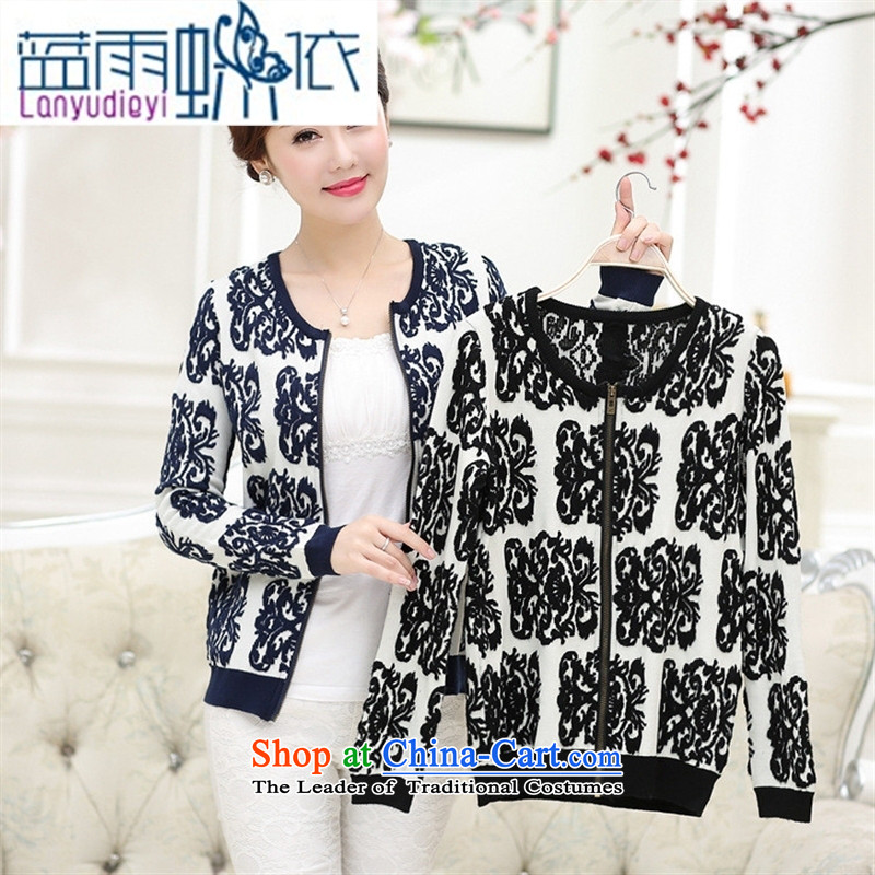 Ya-ting shop 2015 Autumn replacing middle-aged female replacing round-neck collar with long-sleeved in stylish mother older new knit sweater jacket Black�5