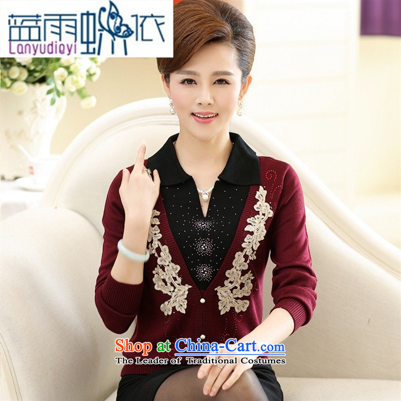 Ya-ting shops fall in the number of older women new boxed autumn replacing stylish mother Knitted Shirt long-sleeved lapel forming the t-shirts Navy Blue 115