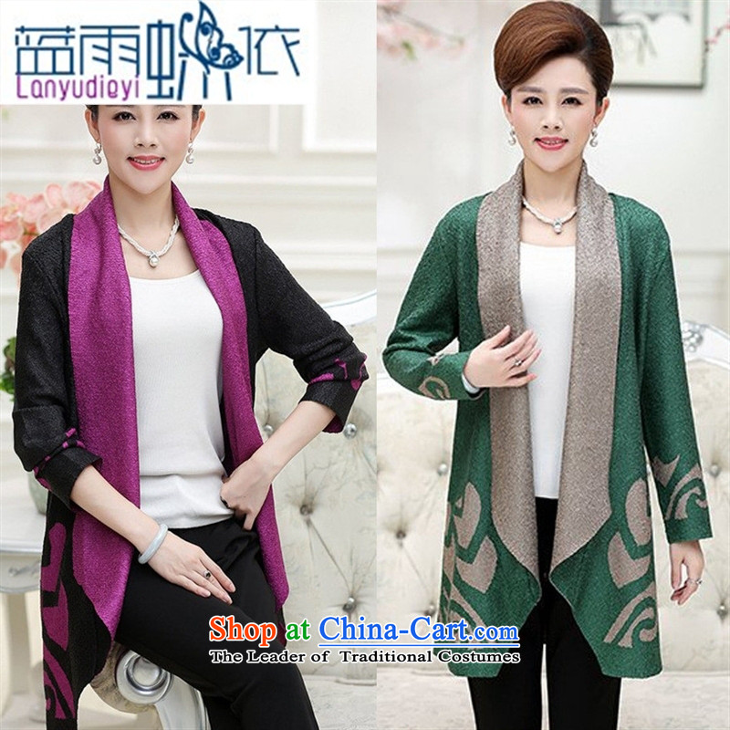 Ya-ting shop in older women with low, Choo windbreaker middle-aged moms with larger in shawls retro long jacket, female purple燲L