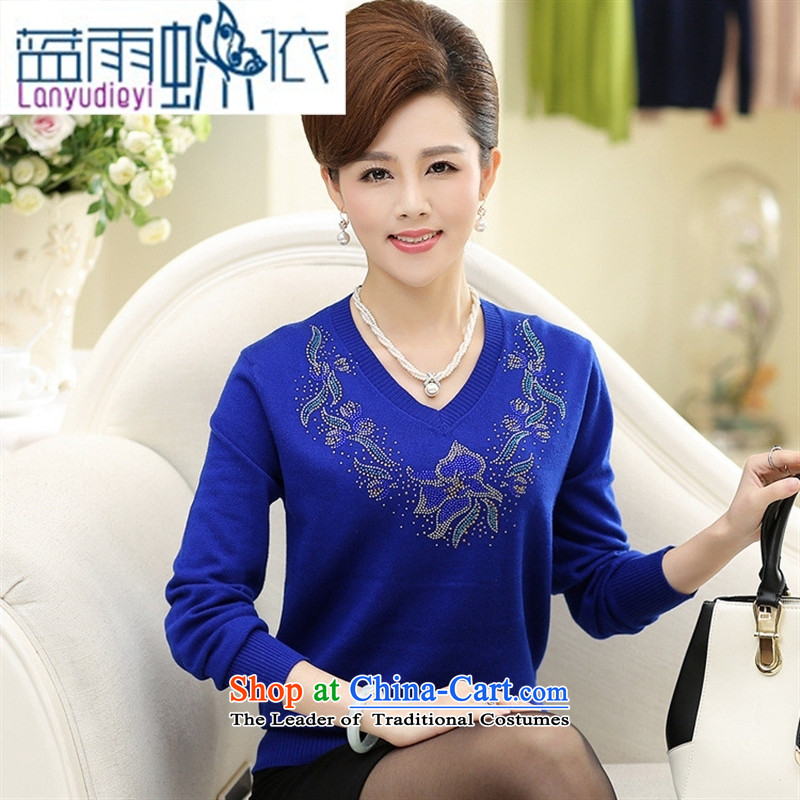 Ya-ting shop in the autumn of older women, new Korean long-sleeved shirt mother forming the loose knitting with Washable Wool V-Neck Sweater female Orange?110