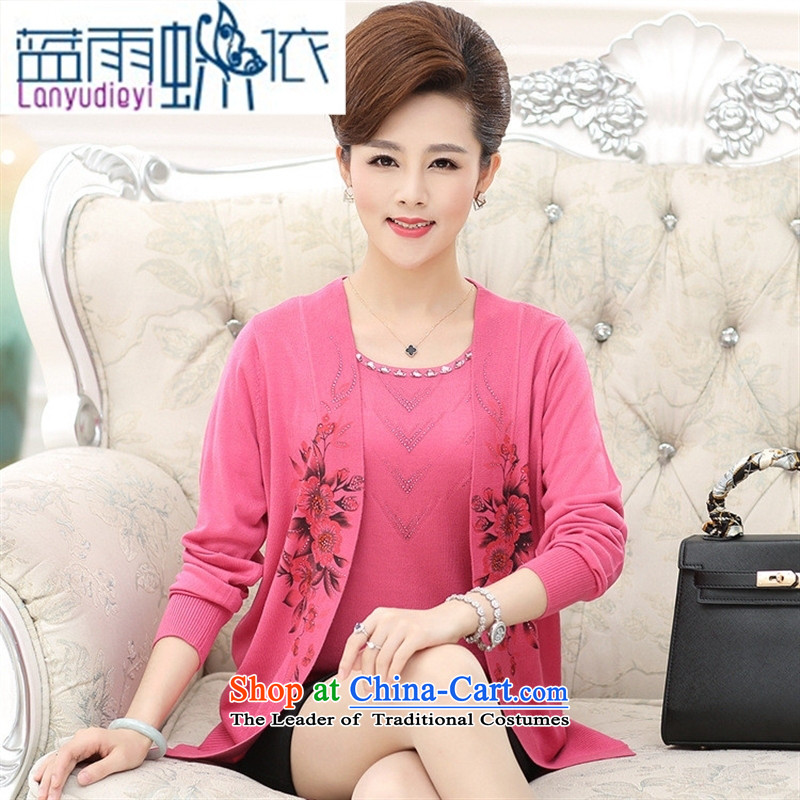 Ya-ting Shop Boxed fall for the new mother of two elderly really lady knitted jacket large stamp out of the middle-aged female cardigan ground Western Red聽120