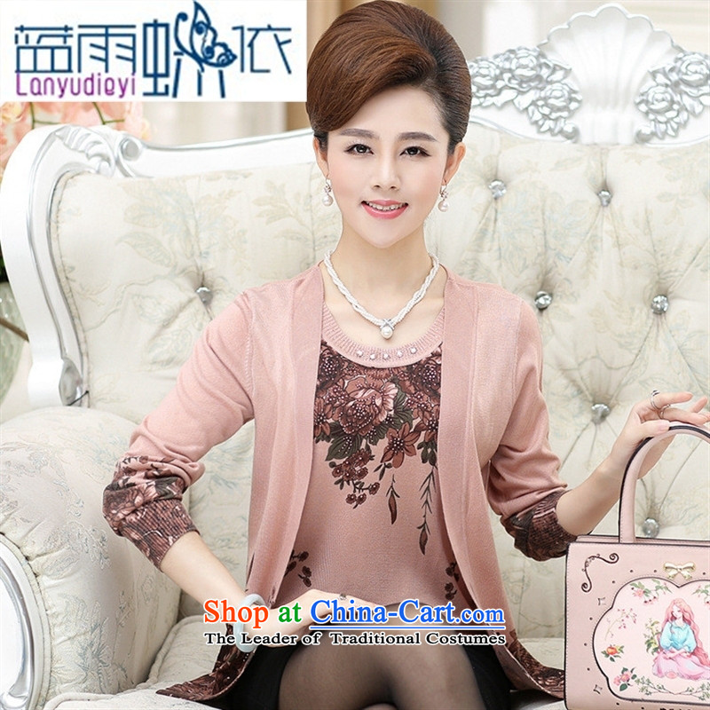 Ya-ting shop 2015 Autumn New_ Older women Knitted Shirt middle-aged moms loose leave two Korean girls increasing stamp and color聽120