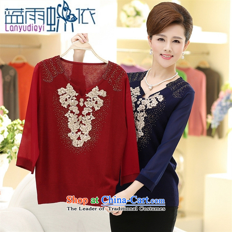 Ya-ting shop 2015 Autumn replacing middle-aged female replace V style boxed long-sleeved elderly mother autumn new women's Knitwear Sweater Red 125