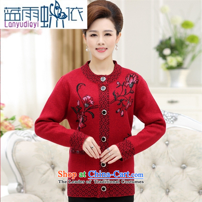 Ya-ting shop in the autumn of the new Elderly Women fall jackets mother knitted blouses flowers grandma stamp Green?115