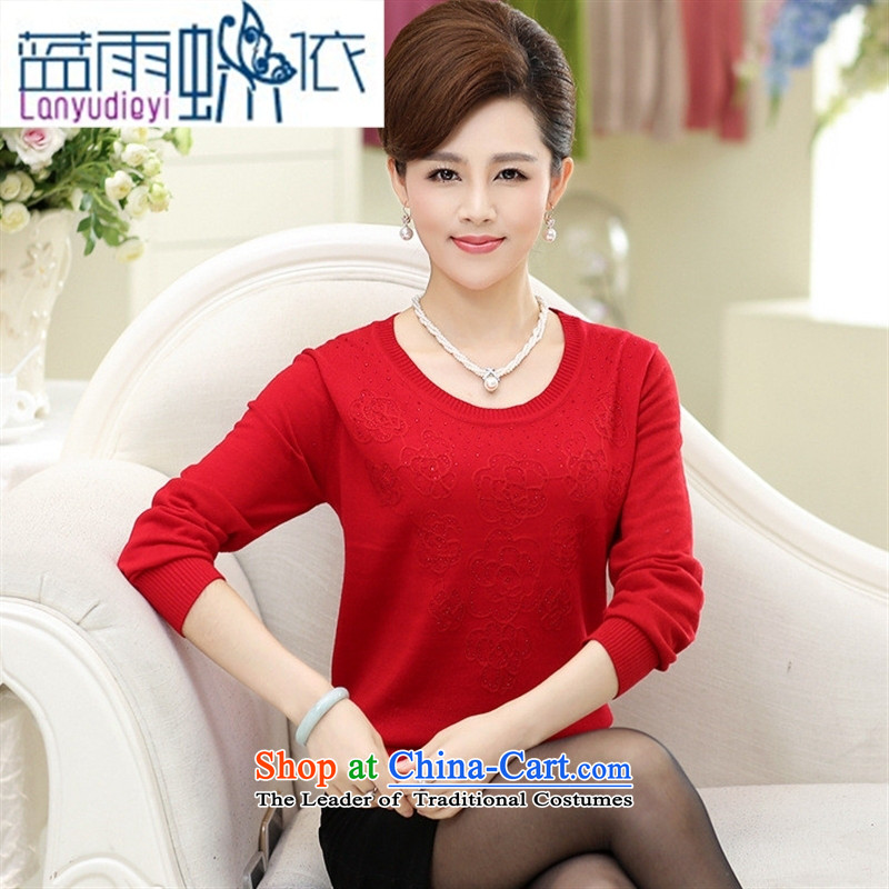 Ya-ting shop in the new 2015 older women with large middle-aged autumn mother long-sleeved T-shirt Sweater Knit-girl purple�0