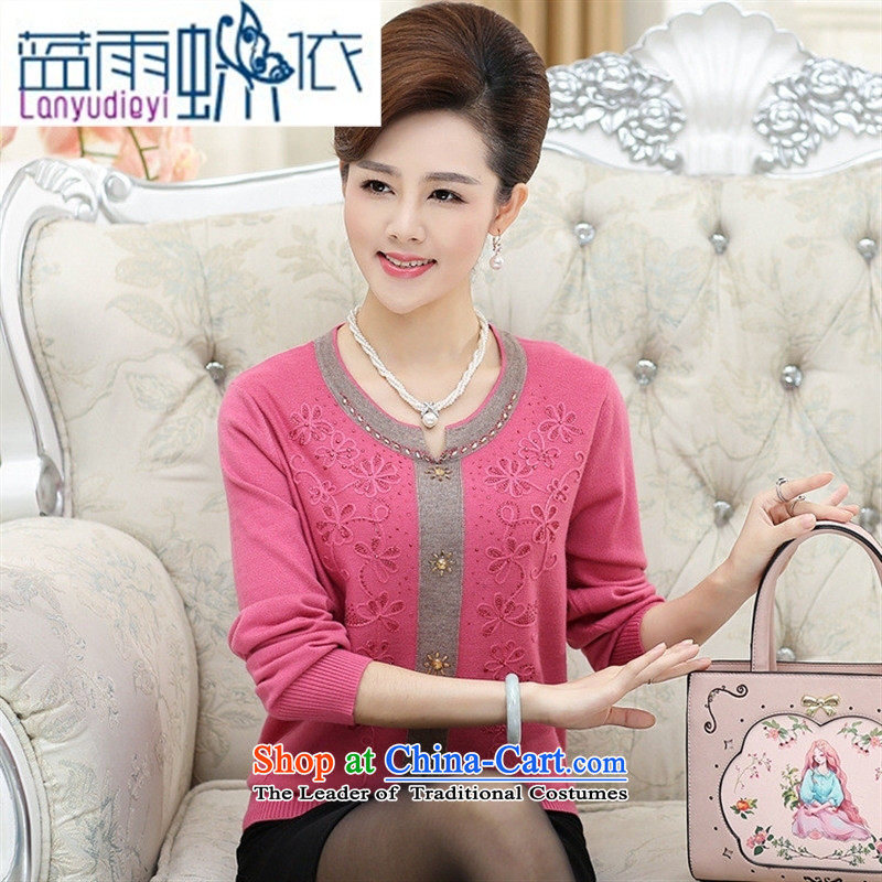 Shop 2015, Ya-ting older mother boxed autumn boxed long-sleeved T-shirt with the middle-aged women ironing drill pure color knitting sweater girl rocketed to loose燲L