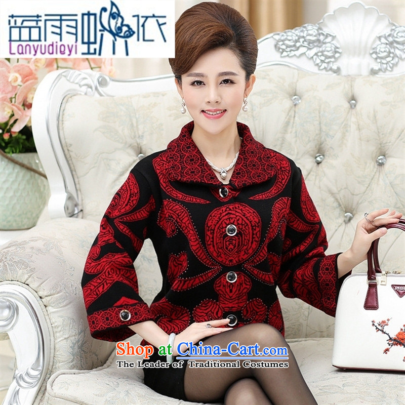 Ya-ting shop for winter new MOM pack knitting cardigan thick coat large relaxd in older women's grandmother replacing the old clothes brown燲L
