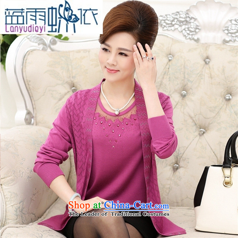 Ya-ting shop in older women wear long-sleeved new boxed autumn really two large middle-aged mother blouses two kits knitting cardigan pink聽115