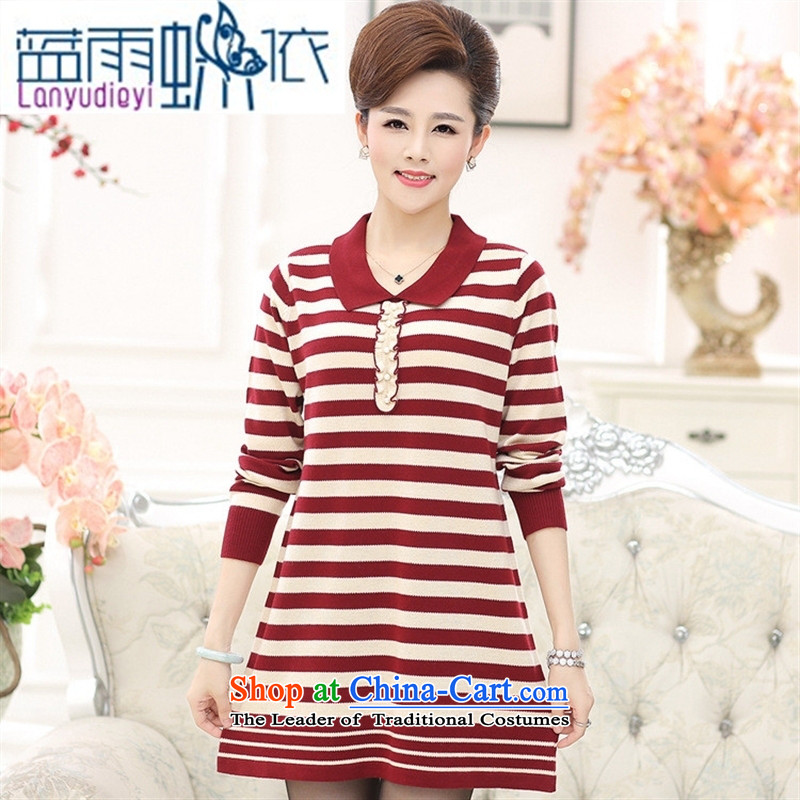 Ya-ting new shop in the autumn large load mother dresses in long-sleeved sweater streaks, forming the basis of knitwear female wine red?115
