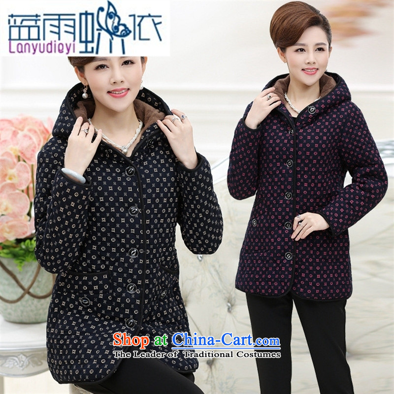 Ya-ting shop 2015 winter new and old age are large Cotton Women's mom pack robe with cap reinforcement of the lint-free cotton coat of red燲XXXL