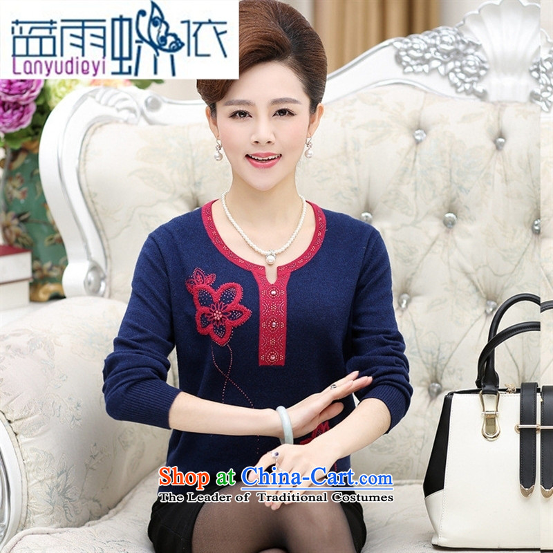 Ya-ting shop in the autumn of replacing mother with older long-sleeved sweater middle-aged women knitted sweaters forming the shirt 40-50 shirt female Navy Blue�0