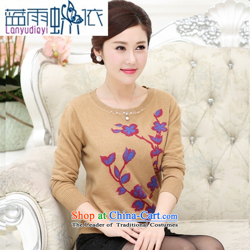 Ya-ting shop autumn mother knitted shirts wool sweater OL commuter in older, embroidery, forming the round-neck collar shirts and T-shirt female Brown Kit�0