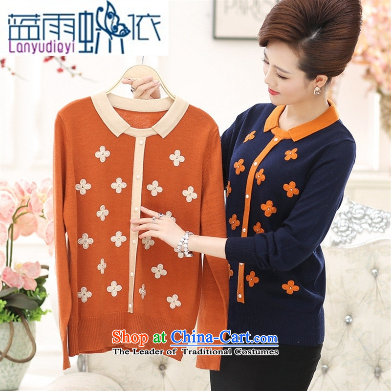 Ya-ting shop autumn and winter new Elderly Women New autumn large boxed loose mother Dressed Dolls, forming the basis for a sweater woolen sweater Black 110