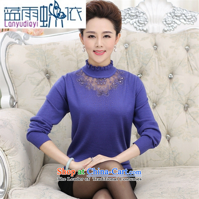 The New Shop Ya-ting of older persons in the Autumn and Winter Sweater girl mothers with large Cashmere wool knitwear fungus collar woolen pullover Red 120