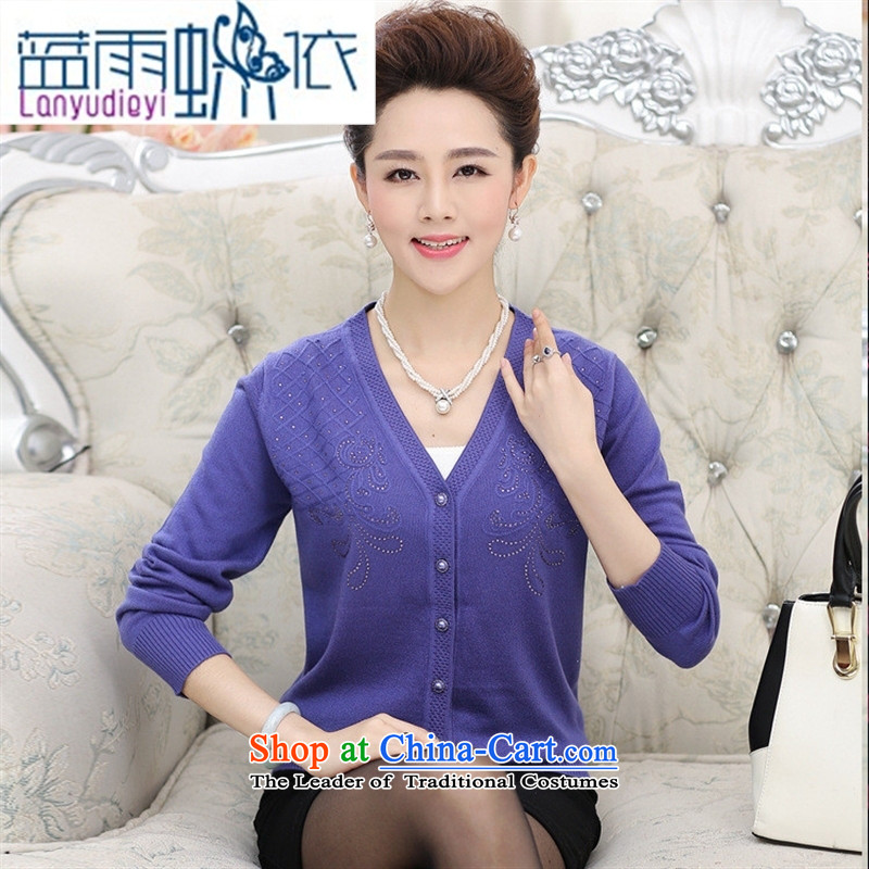 Ya-ting shop in the new age women fall inside larger MOM pack sweater knitting cardigan jacket V-neck a middle-aged man jacket blue