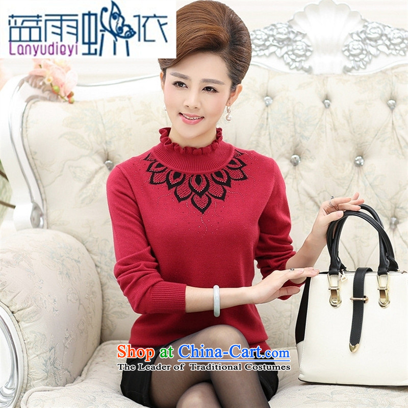 Ya-ting shop in older women fleece mother load large hedge sweater fungus for Knitted Shirt of older persons in the red woolen sweater thick�5