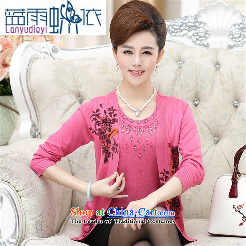 Ya-ting shop 2015 Autumn New) Older women won version stamp nail pearl leave two kits Knitted Shirt larger mother boxed pink?115